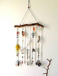 Beaded mobile, Boho mobile, Bohemian decor, Dream catcher,  Natural Decoration, Gypsy wall hanging, Recycle mobile, Feather Mobile