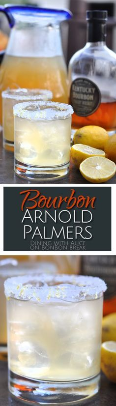 subtle bourbon flavor in these Arnold Palmer cocktails mixes with tea and lemonade to create a refreshing summer beverage.The subtle bourbon flavor in these Arnold Palmer cocktails mixes with tea and lemonade to create a refreshing summer beverage. Cocktail Mix, Cocktail Drinks, Cocktail Recipes, Iced Tea Cocktails, Drink Recipes, Party Drinks, Fun Drinks, Cheers, Bourbon Drinks