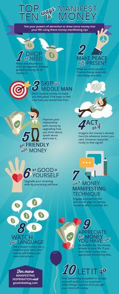 Top 10 Ways to Manifest Money http://GoodVibeBlog.com