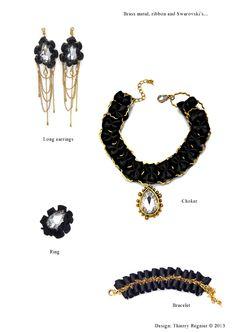 Set de bijoux ruban point rucher et métal en or vieilli. Cristaux blancs Swarrovski. Design #VisionOfJewels by #ThierryRegnier