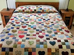 Hearts and Nine Patch Quilt -- exquisite adeptly made Amish Quilts from Lancaster (hs6911)