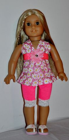 Pink capri outfit  that fits AMERICAN GIRL DOLLS via Etsy