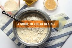 This guide to vegan baking will show you how to replace eggs, milk and butter to make delicious vegan baked goods! Vegan Sweets, Vegan Desserts, Dessert Recipes, Baking Recipes, Whole Food Recipes, Baking Tips, Vegan Vegetarian, Vegetarian Recipes, Vegan Food