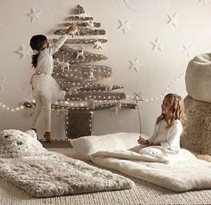 Christmas in neutrals. The fuzzy sleepover bags are darling!