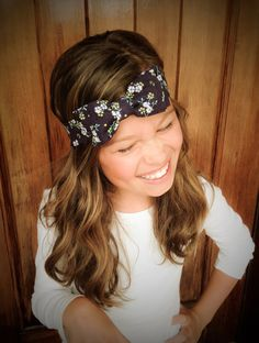 Floral Double Bow Headwrap  Bow Headband  by CollectiveCreationsC