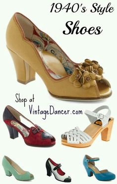 Vintage Style Womens Shoes Styles - these shoes make me wish I could tolerate wearing heels. - Women's modern vintage shoes come in peep toe, oxford, slingback, sandal, and wedge or wedgie styles. Authentic looking but new for your comfort. 40s Mode, Retro Mode, Vintage Mode, Moda Vintage, Vintage Style, Women's Shoes, Cute Shoes, Me Too Shoes, Shoe Boots