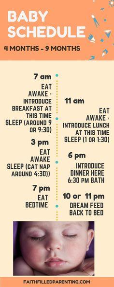 Baby sleep schedule 4 months - 9 months