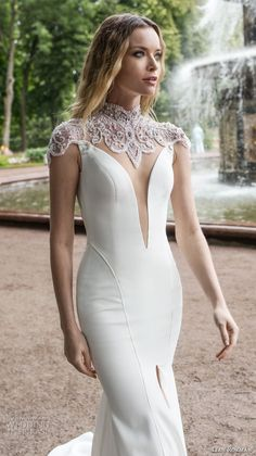 lian rokman 2018 bridal cap sleeves high neck deep plunging sweetheart neck simple clean elegant modern fit and flare sheath wedding dress open back chapel train (14) zv -- Lian Rokman 2018 Wedding Dresses