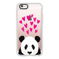 iPhone 6 Plus/6/5/5s/5c Case - Panda black and white cute hearts love... (145 BRL) ❤ liked on Polyvore featuring accessories, tech accessories, iphone case, apple iphone cases, iphone cell phone cases, iphone cover case and iphone hard case