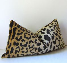 Animal Print Velvet Pillow - Decorative Pillow Cover - 12 x 22 inch - Lumbar -  Leopard Print - Brown - honey - ready to ship