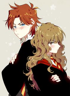 Ron and hermione harry potter anime, voldemort, fantastic beasts, Harry Potter Ron Weasley, Fanart Harry Potter, Gina Weasley, Mundo Harry Potter, Harry Potter Artwork, Ron And Hermione, Harry Potter Cosplay, Harry Potter Ships, Harry Potter Drawings