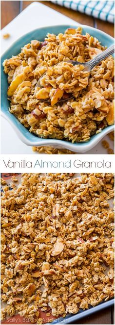 Ditch the store-bought… healthy homemade granola is easy! Make this sweet, sti… Ditch the store-bought… healthy homemade granola is easy! Make this sweet, sticky, and crunchy granola that is exploding with vanilla and almond flavors! Breakfast Recipes, Snack Recipes, Cooking Recipes, Healthy Recipes, Freezer Recipes, Breakfast Bake, Freezer Cooking, Drink Recipes, Sweet Recipes