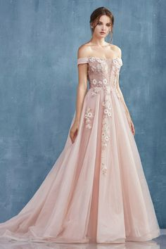 Andrea and Leo Blush Dresses, Ball Dresses, Pretty Dresses, Ball Gowns, Prom Dresses, A Line Long Dress, A Line Gown, Fantasy Wedding Dresses, Strapless Gown