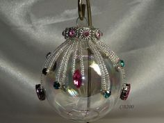 Beaded Christmas Ornament 3AB crystal by 44thStreetCreations