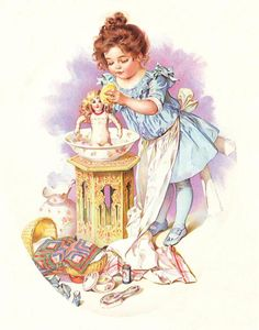 Young Girl Washing Her Dolls by Maud Humphrey Bogart Counted Cross Stitch or Counted Needlepoint Pattern Vintage Girls, Vintage Children, Vintage Pictures, Vintage Images, Images Victoriennes, Vintage Art Prints, Victorian Art, Children Images, Belle Photo