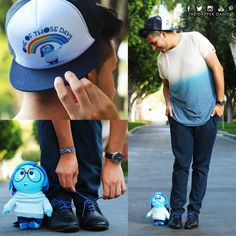 Feeling a little blue in this menswear outfit with Sadness, one of my favorite characters from Inside Out!