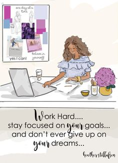 Wall Art for Women - Work and Stay Focused on Your Goals - Wall Art Print - Digital Art Print - Wall Art -- Print
