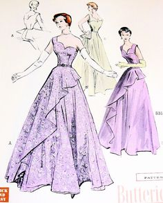 Hey, I found this really awesome Etsy listing at https://www.etsy.com/listing/216970092/50s-gorgeous-evening-gown-pattern