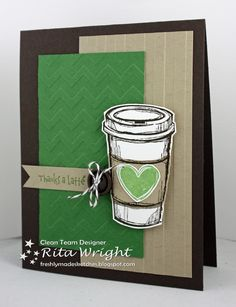 We all have that one friend who always has coffee in her hand. Now you can customize her thank you card with the Perfect Blend stamp set and Like it a Latte for the sentiment. Lots of dimension on this handmade card with embossing, buttons, string and pop-ups.
