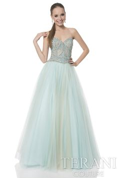 Sweetheart prom gown with fitted, sequin embellished bodice. The prom dress is finished with a full, tulle skirt.