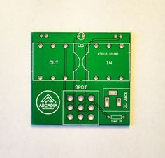 """Printed circuit board for true bypass system populating a 3PDT footswitch, 2 Marshall-style 1/4"""" female jacks, a LED, and a 3.5 mm power jack"""