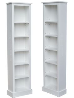 White Painted Narrow Bookcase, Solid Wood 6ft Tall Display Unit, Bookshelves