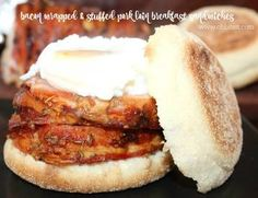 Bacon Wrapped Pork Breakfast Sandwich!  SO, when life hands you a deliciously large portion of Bacon Wrapped Stuffed Pork Loin and you find yourself with some leftovers, what do you do…oh what, do. YOU. do? Well, I know what I did~ I found a way to enjoy a super stuffed, Bacon wrapped, pork loin in the morning..uh, for breakfast… you are welcome.
