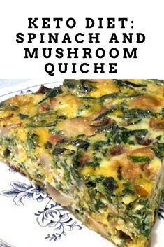 Keto Spinach and mushroom quiche, keto diet recipe. Here's another savory keto recipe that is guaranteed to make your taste buds go wild. Add a nice gre 15 Awesome Low Carb Appetizer Recipes Keto Quiche, Quiche Recipes, Appetizer Recipes, Appetizers, Keto Mushrooms, Spinach Stuffed Mushrooms, Veggie Keto, Vegetarian Keto, Keto Diet For Vegetarians
