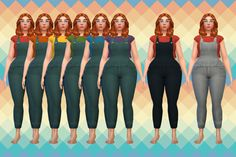 the moment you've all been waiting for! some overalls. my first mesh mashup. mashed some meshes together, mashed some textures together. I went super simple with the colors, 6 shirt colors and 3 denim...