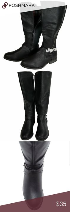 """Lane Bryant Tall Riding Boot This essential riding boot hzs a trendy moto vibe. With two side  zippers, (1 functional & 1 decorative) and studded ankle straps for that """"just right"""" added touch, they are on point. Made with comfort in mind, this boot has a soft flannel lining, a 16"""" shaft height(from where the boot meets the heel), a 20"""" calf circumferance and a 1"""" heel hieght. With a stretchy back to keep the fit secure and yes, your favorite skinny jeans can be tucked in! Sorry, no trades…"""