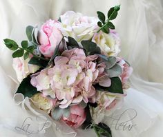 Shabby chic bridal bouquet, wedding bouquet, cottage garden style bouquet of pale pink peonies