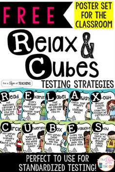 FREE Testing Strategies Poster Set for the Classroom using the Relax and Cubes mnemonics.
