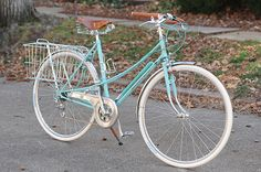 This is a Bianchi Donna 28 Positron, a bike I suppose is from the 70's, upgraded and re-imagined by a son for his mother. That lady did excellent job raising him! How sweet and what great taste he has! Bianchi needs a bike like this in their catalog today.