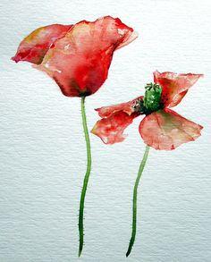 Watercolor Sketch - Poppies by rusteddragonfly, via Flickr