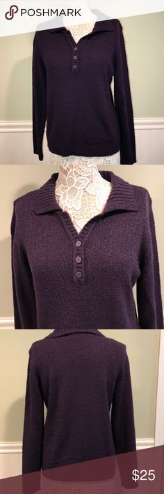 Karen Scott Buttoned Down Collar Sweater Purple, soft and comfy! Never worn, no tags. Karen Scott Sweaters