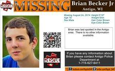 8/24/2014: Brian R Becker, Jr., age 16, is #missing from Antigo, Wisconsin.
