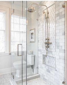 Shower tile detail!!That faucet/ shower head❤️