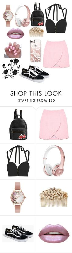"""""""A FLAMINGO IN A FLOCK OF PIGEONS"""" by lolurnotalexturner ❤ liked on Polyvore featuring Carven, Jonathan Simkhai, Olivia Burton, Miriam Haskell, J.Crew, Huda Beauty and Casetify"""