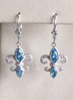 Sterling Silver Blue Topaz & Diamond Fleur de Lis Earrings!