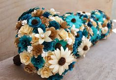Teal and Copper Wedding: Bouquets, Corsages and Boutonnieres Made of Wooden Flowers | Reduce. Reuse. Recycle. Replenish. Restore.