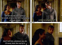 Gwen and Arthur ~ Merlin. This scene was so cute. Loved that they held hands!