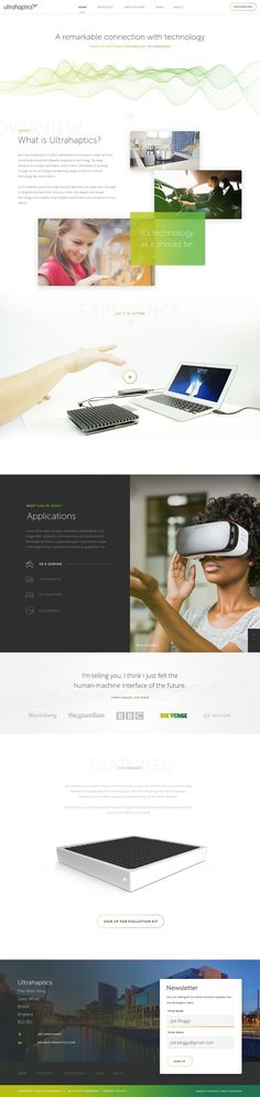 Ultrahaptics Website Homepage by Nathan Riley for Green Chameleon