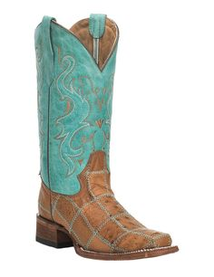 Corral Women's Tan with Turquoise Upper Ostrich Patchwork Western Square Toe Boots | Cavender's