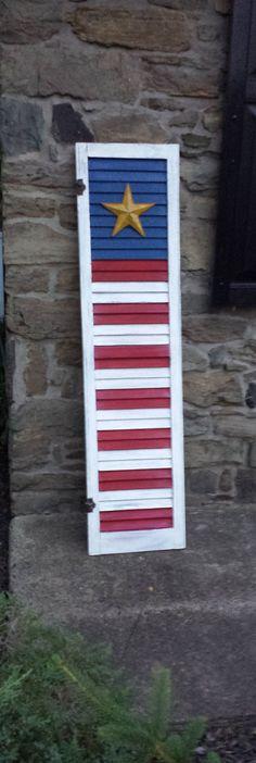 American Flag Shutter- Distressed Vintage Wood Shutter