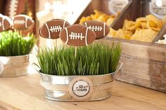 Football A Vintage Football Viewing Party Party Ideas Football Centerpieces, Banquet Centerpieces, Graduation Party Centerpieces, Football Wedding, Football Banquet, Football Themes, Football Decor, Friday Night Lights Movie, Bar Mitzvah Party