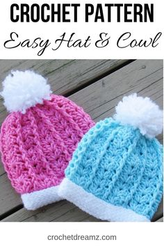 Isabel Slouchy Hat and Cowl, Crochet Pattern, Sizes 3 months to Woman - Crochet Dreamz Easy Crochet Baby Hat, Crochet Baby Hat Patterns, Crochet Quilt, Knit Crochet, Crochet Hats, Free Crochet, Baby Hats Knitting, Knitted Hats, Crochet Hat For Beginners