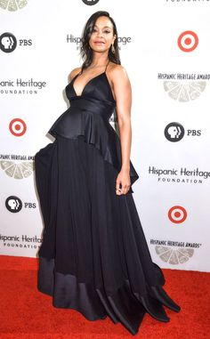 Popping Peplum from Zoe Saldana's Pregnancy Style  Note the sweet bump-accentuating peplum on Zoe's Juan Carlos Obando gown from the 2014 Hispanic Heritage Awards.