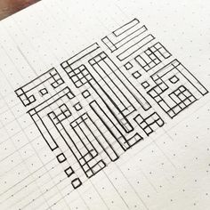 """Drafting up some more #kufic script Arabic calligraphy. Have to plot everything out to ensure that the ratios are correct. Love doing these! This quote is a refrain found in Surah 55 of the Qur'an: """"'فبأي آلاء ربكما تكذبان"""" which translates to """"which of the favors of your Lord would you deny?"""" meant as a reminder to all of us to be thankful for all things. #etsy #etsyshop #etsyfinds #quran #islam #arabiccalligraphy #thankful #penandink #handmade #design"""