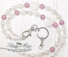 Beaded Lanyard Rose w/Pearl & Pink Pave Disco Balls Necklace Security Card ID Holder Badge Lanyard Great Gift for Her Teachers Coworkers