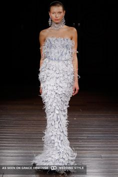naeem khan 2017 spring bridal couture modified mermaid pale blue feathered aquamarine jeweled hints strapless